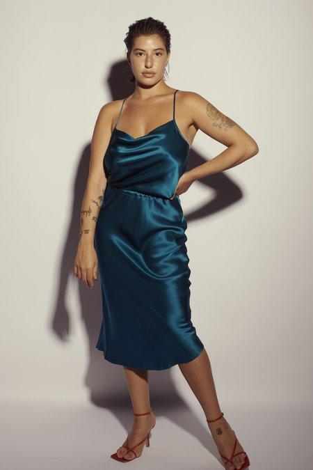 KES Nane Cowl Neck Silk Slip Dress - Teal