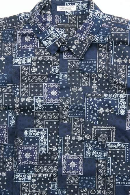 Engineered Garments Combo Short Collar Shirt - Navy/Black Bandana Patchwork Print