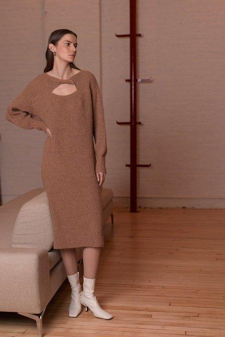 Eleven Six Knits BETH SWEATER DRESS - CAMEL