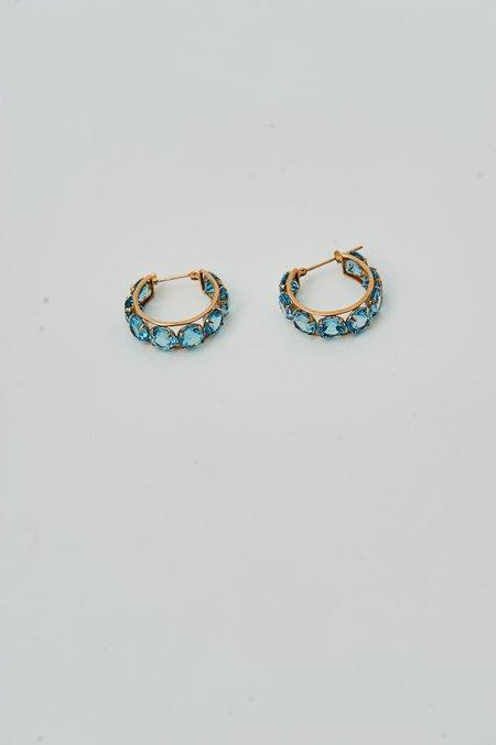 PRE-LOVED BLUE Topaz Huggie Hoops - Gold/Blue