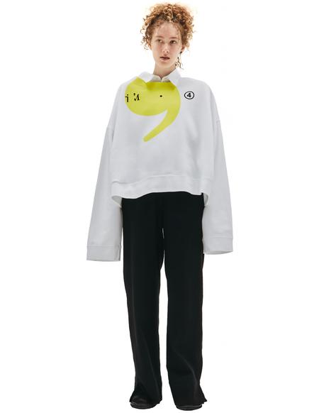 Maison Margiela White Printed Cropped Sweatshirt