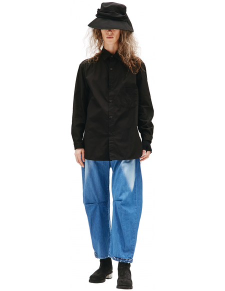 Yohji Yamamoto Black Cotton Shirt With Pocket
