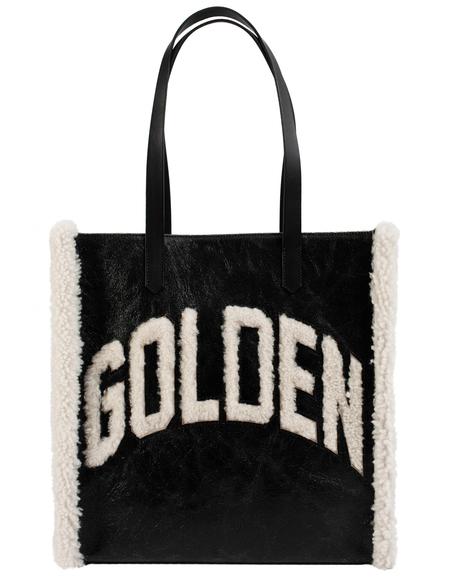 Golden Goose Shearling Logo Tote Bag - Black