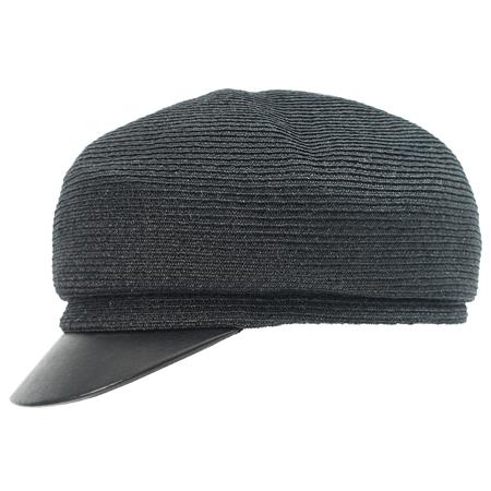 Y's Black Raffia Cap