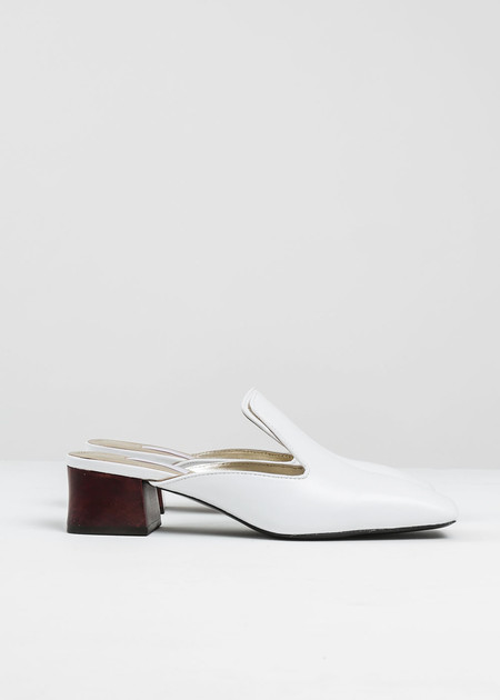 Suzanne Rae White Leather Mule