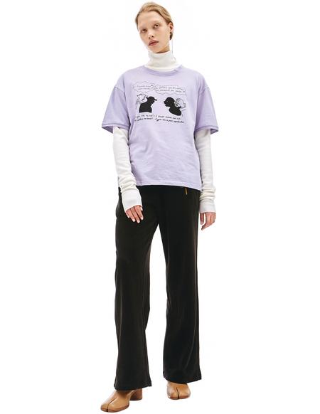 Vojettes Purple Cotton Dialogue Print T-Shirt