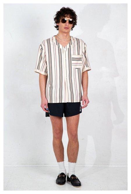 Graphia New York Baseball Collar Short Sleeve Shirt - Cream Stripe