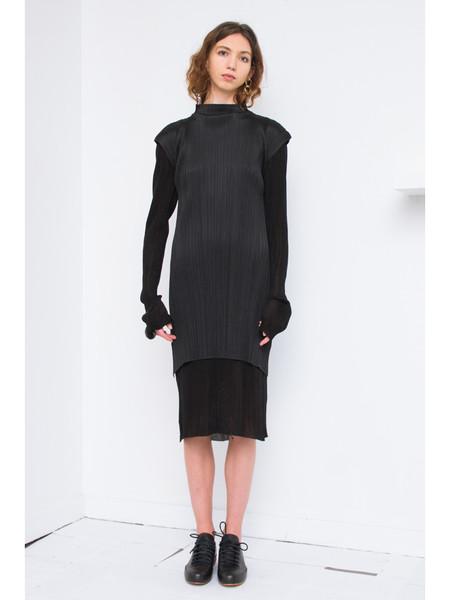 Issey Miyake Knee Length Dress with Cap Sleeve - Black