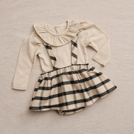 Kids My Little Cozmo Mar Flannel Plaid Skirt with Suspenders