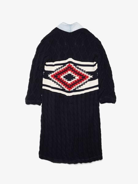 [Pre - Loved] Greg Lauren X Paul & Shark Knitted Argyle Robe Cardigan - Navy