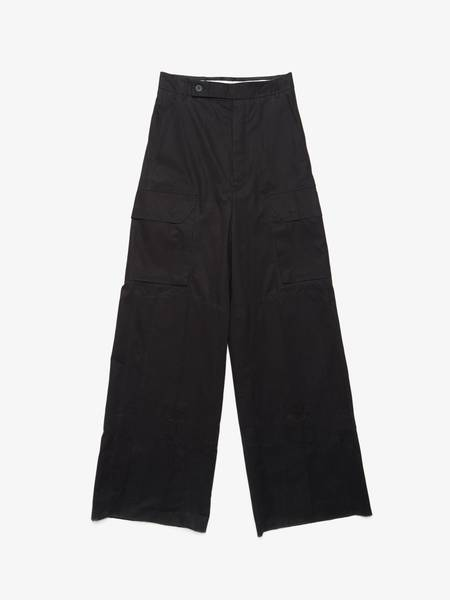 Rick Owens M Black Mastodon Cargo Cotton Wide Pants