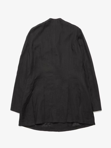 [Pre-Loved] Yohji Yamamoto M Black Elongated Half Lined Collarless Suit Linen Jacket-BLACK
