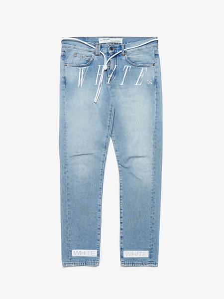 [Pre - Loved] Off-White Male Tail Laced Back Side Stripe Embroidered Wased Jeans - Blue