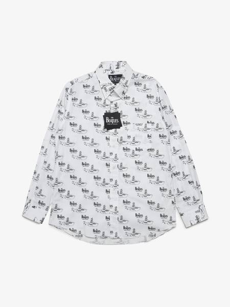 pre-loved Comme des Garcons The Beatles Collaboration Yellow Submarine Printed Cotton Shirt - white/printed