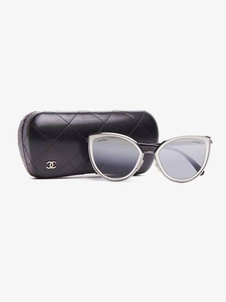 [Pre-Loved] Chanel Women Silver and Black Cat Eye Acetate Framed Sunglasses