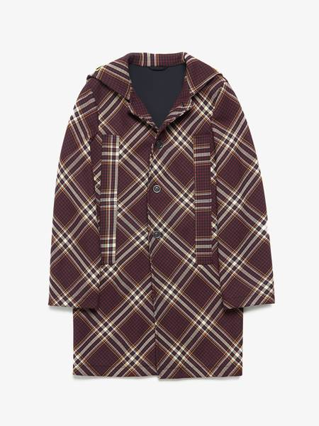 PRE-LOVED Raf Simons NNN Letter Patched Diagonal Checked Wool Coat - brown
