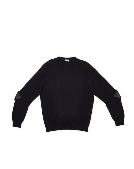 pre-loved Saint Laurent Paris Leather Elbow Patched Cashmere Sweater - black