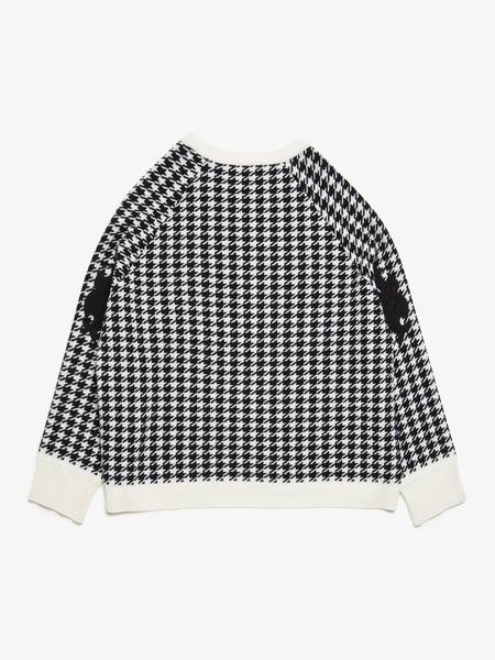 Haider Ackermann Contrast Trimming Houndstooth Wool Sweater - Black/White