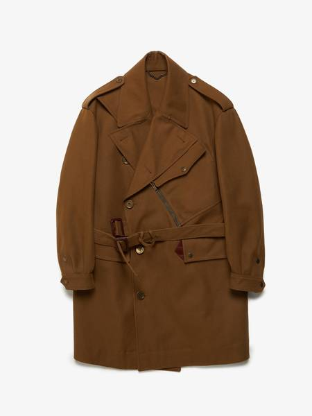 pre-loved Burberry Prorsum Double Breasted Army Gabardine Cotton Coat - Tan