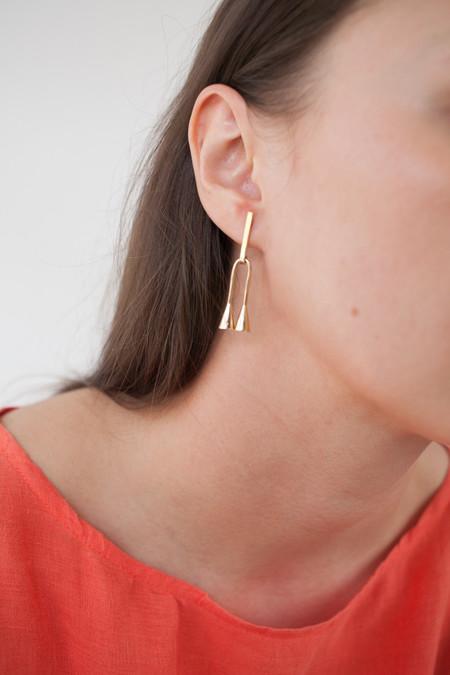 Quarry Petite Verne Earrings in Brass