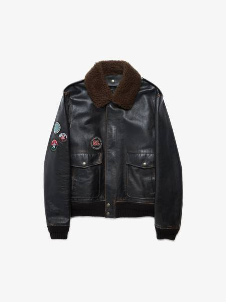 [Pre - Loved] Saint Laurent Paris Patch Embroidered Fur Collar Leather Bomber Jacket - Black