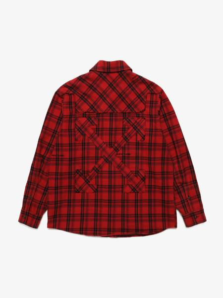 [Pre-Loved] Off-White Male Red And Black Cotton Oversized Overshirt