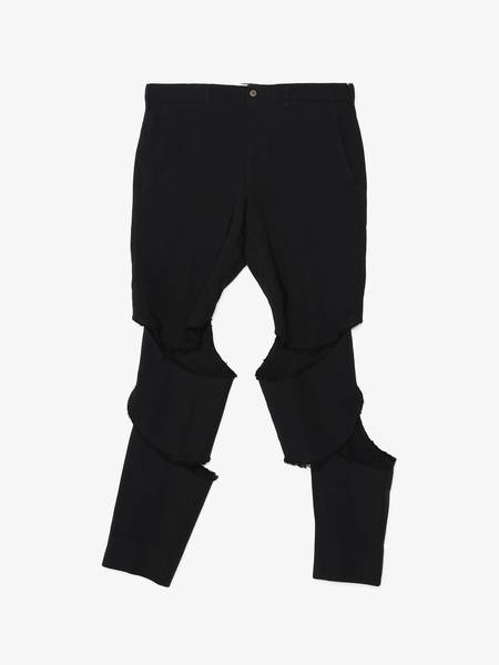 Comme Des Garcons Homme Plus Front Cut Trousers - Black