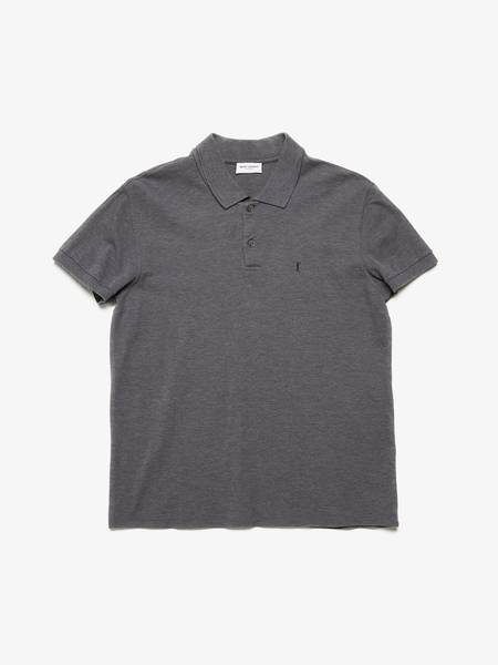 [Pre-Loved] Saint Laurent Paris Male Gray YSL Logo Embroidered Polo Shirt