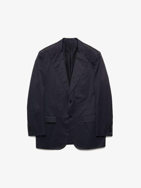 [Pre-Loved] Kiton M Cipa 1960 Taupe Cotton Peak Lapel Uncontrasted Jacket-NAVY