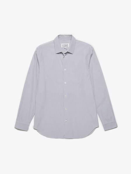 Maison Margiela White Cold Striped Cotton Shirt - Grey