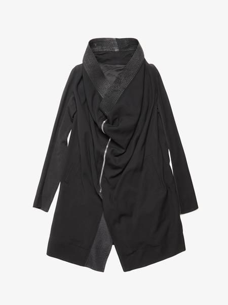 Rick Owens M Black Asymmetrical Zipped Light Wool Jacket