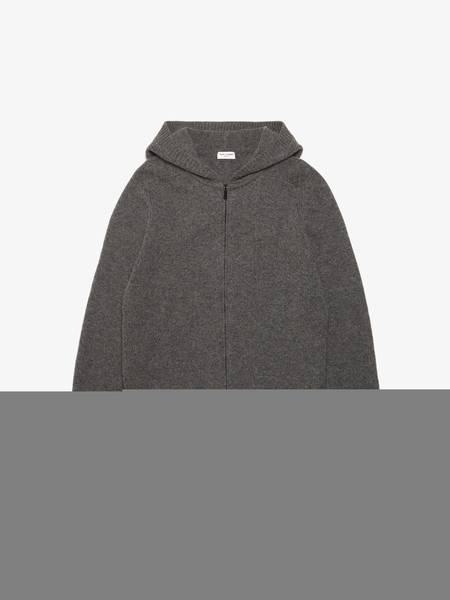 PRE-LOVED Saint Laurent Paris Knitted Hooded Camel Wool Zipped Sweater - gray