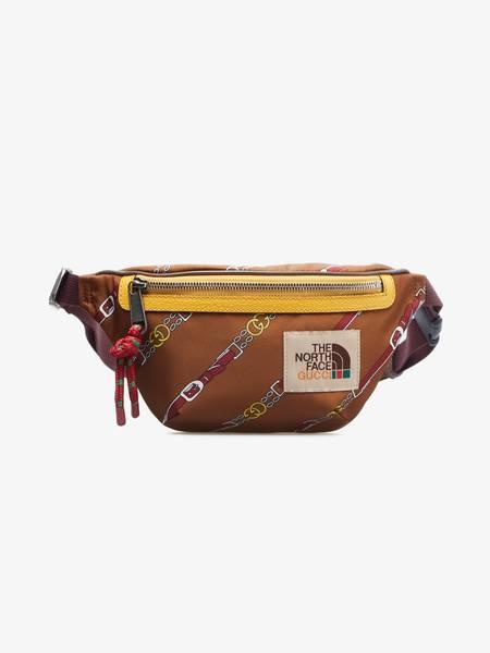 [Pre-Loved] Gucci X The North Face U Brown Chain Print Waist Bag