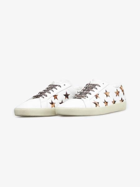 [Pre - Loved] Saint Laurent Paris  Leopard Star Embossed Leather Sneakers - White