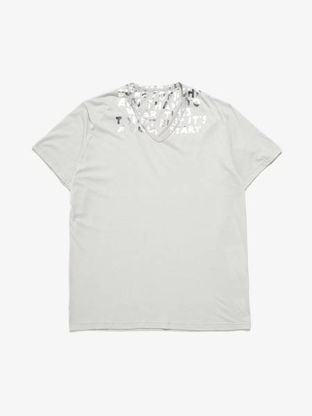 PRE-LOVED Maison Margiela Silver Text Printed Cotton T-shirt - light grey