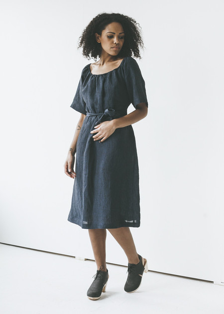 Sunja Link - Gathered Neck Dress in Navy