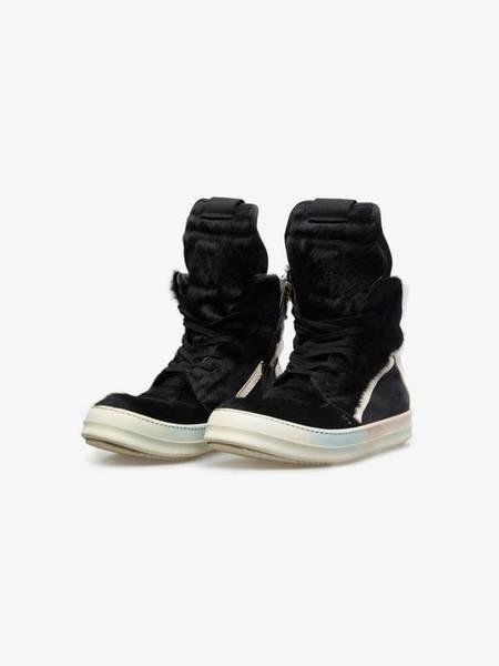 [Pre-Loved] Rick Owens Ponyhair Geobasket Sneakers - Black