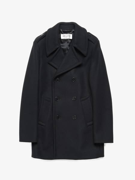 PRE-LOVED Saint Laurent Paris Double Breasted Wool Peacoat - BLACK
