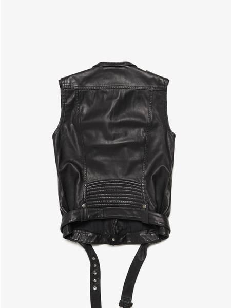 Pierre Balmain Male Leather Belted Biker Vest-BLACK