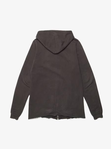 Rick Owens M Dark Gray Cotton Elongated Zipped  Hoodie