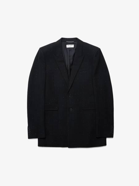 [Pre - Loved] Saint Laurent Paris Boucle Textured Wool Coat - Black