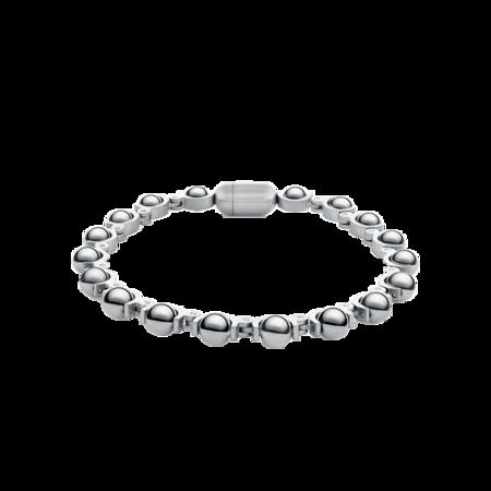 "Italgem Sachi Bead Polished BB-257-7.7"" Bracelet - Silver"