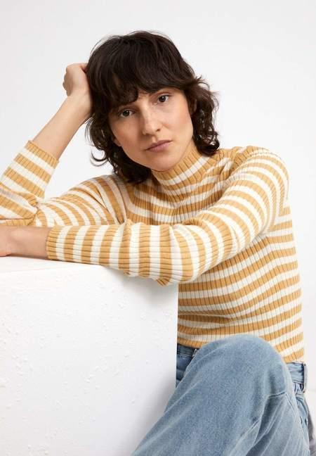 Armedangels Alaani Striped Organic Cotton Sweater - Golden Harvest/Oatmilk