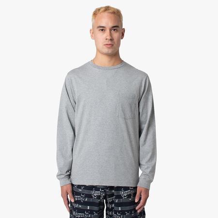BEAMS PLUS Pocket Long Sleeve 40/2 T-shirt - Heather Grey