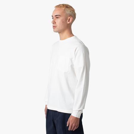 BEAMS PLUS Pocket Long Sleeve 40/2 T-shirt - White