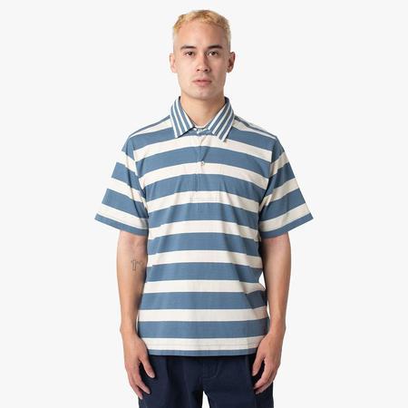 Pop Trading Company Italo Shirt - Blue Shadow/Off White