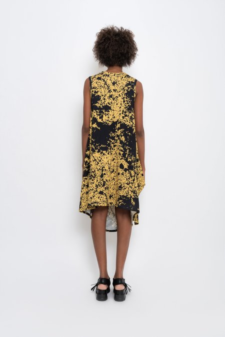 UMA Raquel Davidowicz Spattered Printed Midi Draped Dress - Sunflower