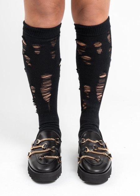 Doublet Damaged High Socks - Black