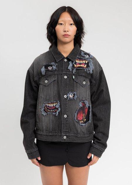Doublet Recycle Denim Monster Repair Jacket - Black