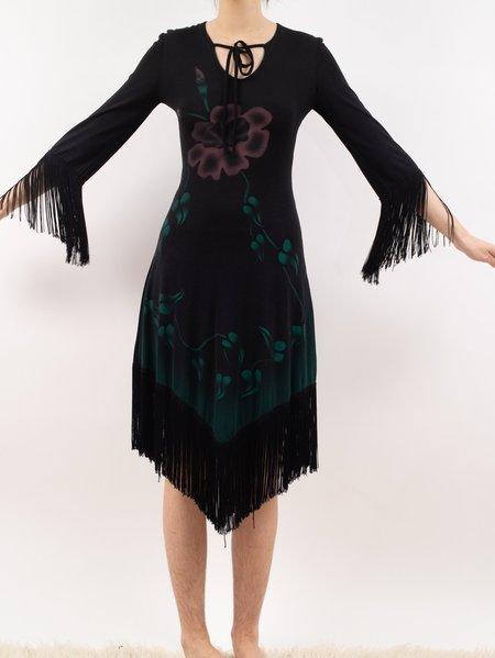 Vintage Erin Templeton 1970's I. magnin airbrush fringe dress - black/green/Purple